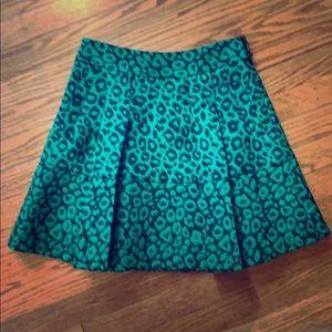 Banana Republic Green leopard print a-line skirt